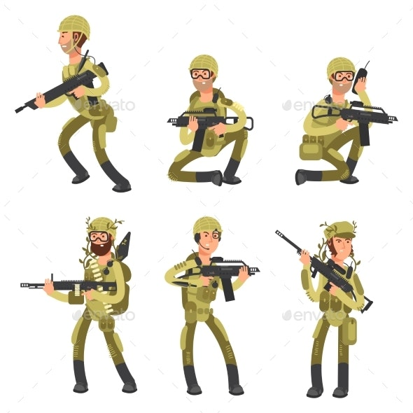 Army Cartoon Man Soldiers in Uniform. Military - Miscellaneous Vectors