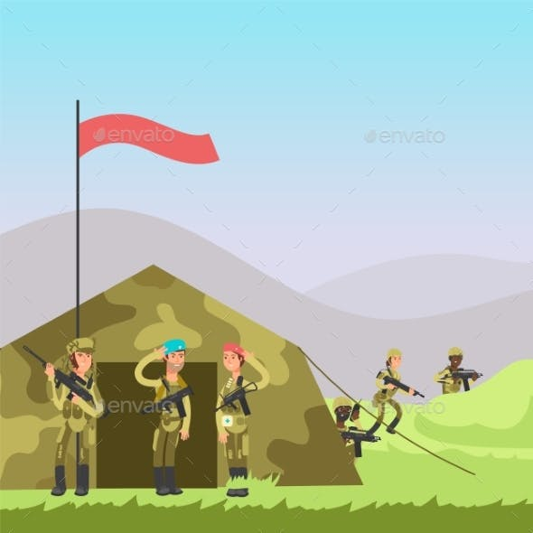 Military Vector Illustration. Cartoon Soldiers