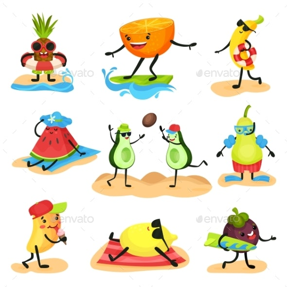 Tropical Humanized Fruit Characters Spending Time - Food Objects