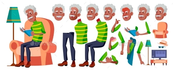 Old Man Vector. Black. Afro American. Senior - People Characters