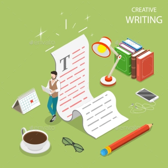 Flat Isometric Vector Concept of Creative Writing. - Business Conceptual