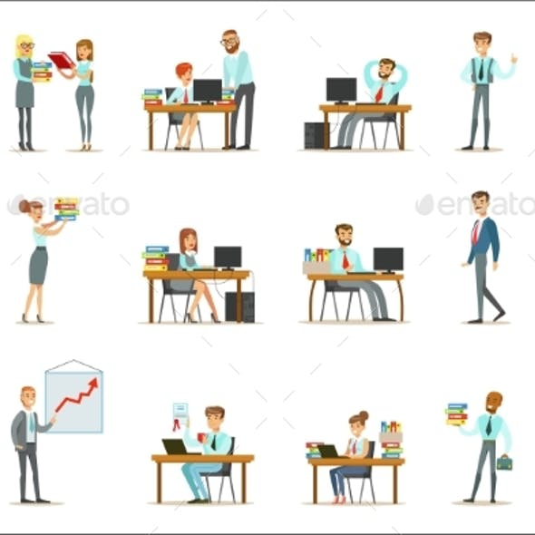 Happy Office Workers And Managers Working In The