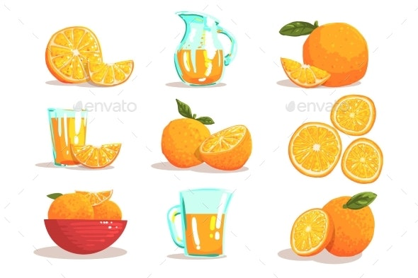 Oranges And Orange Juice Cool Style Bright - Food Objects