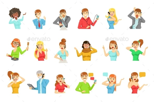 People Speaking On The Phone Set Of Illustrations - People Characters