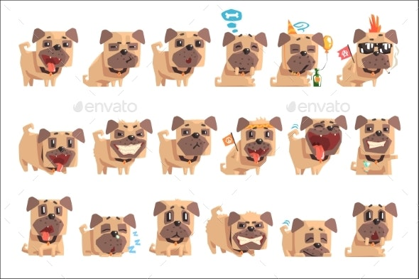 Little Pet Pug Dog Puppy With Collar Set Of Emoji - Animals Characters