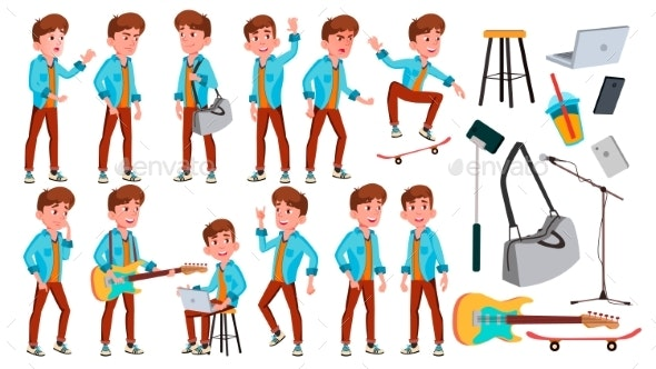 Teen Boy Poses Set Vector - People Characters