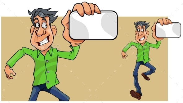 Cartoon Man Running Showing Empty Card in Hand - People Characters