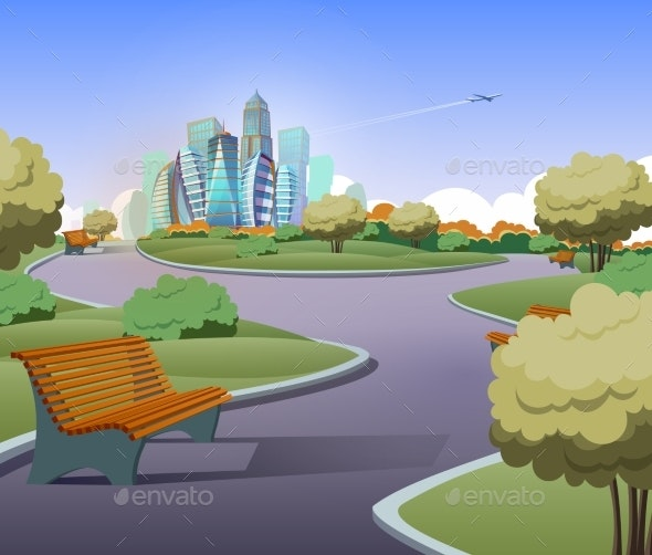 Vector Green Parkland with Trees in City - Backgrounds Decorative