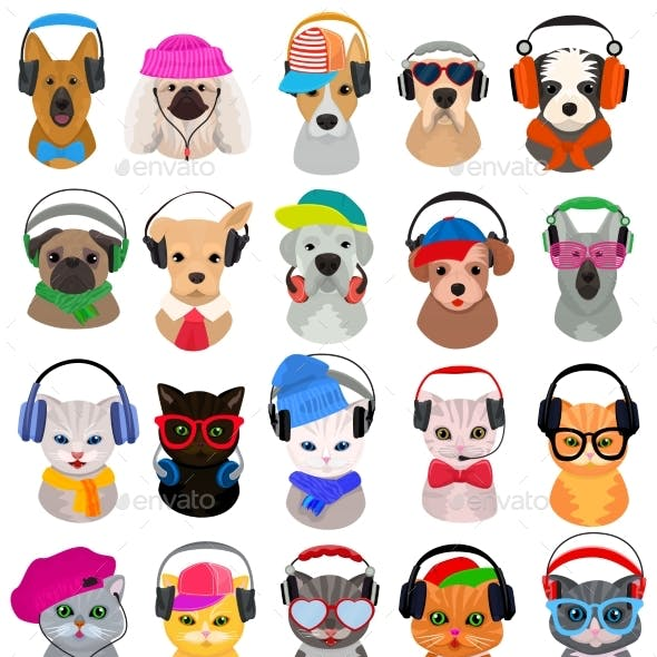 Animal Headphones Vector Cat or Dog