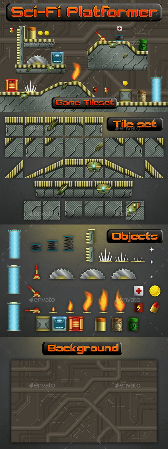 Sci-Fi Platformer 2D Tileset - Tilesets Game Assets