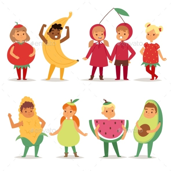 Kids Children Party Fruits Costume Vector Cartoon - People Characters