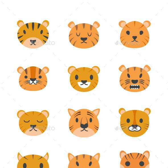 35 Cute Tiger Faces Vector Icons
