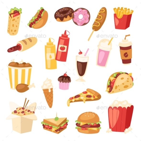 Fast Food Vector - Food Objects