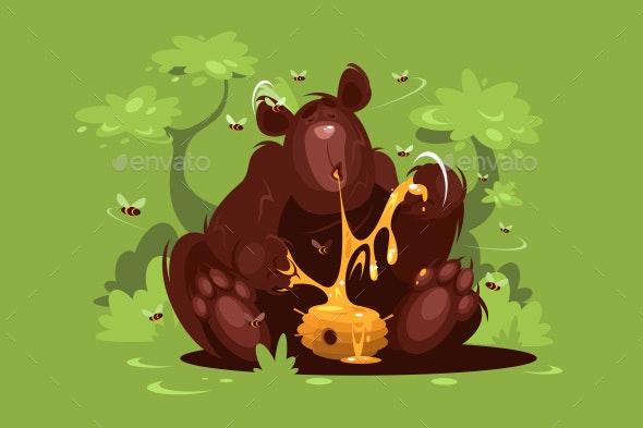 Brown Bear Eats Sweet Honey - Animals Characters