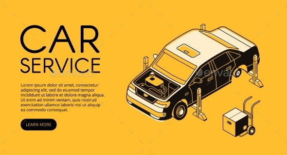 Car Service Repair Station Vector Illustration - Services Commercial / Shopping