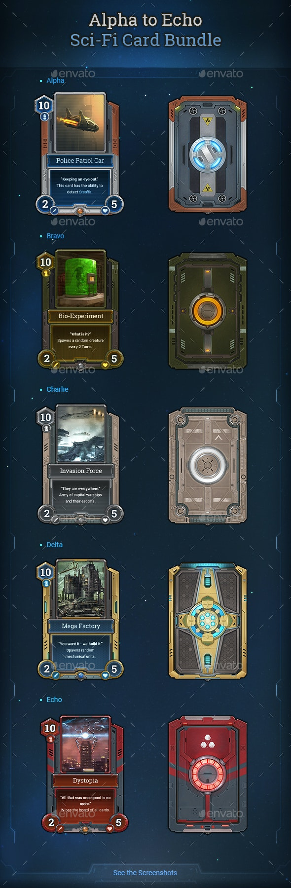 Alpha to Echo Sci-Fi Card Bundle - Miscellaneous Game Assets