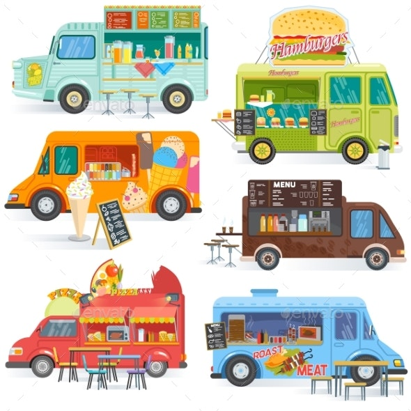 Food Truck Vector Street Food-Truck Vehicles - Man-made Objects Objects