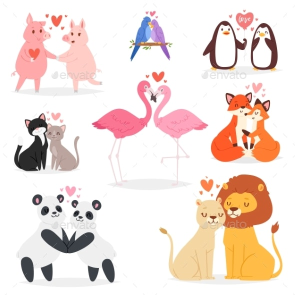 Couple in Love Vector Animal Lovers Characters - People Characters