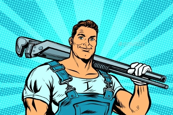 Plumber Worker with Adjustable Wrench - People Characters