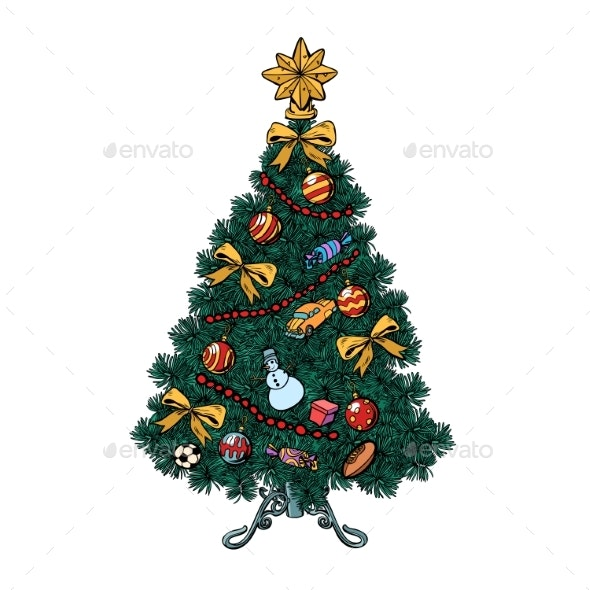 Pop Art Christmas Tree with Decorations - Christmas Seasons/Holidays