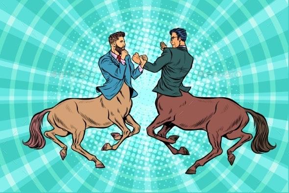 Pop Art Two Centaur Businessmen Fighting - Concepts Business