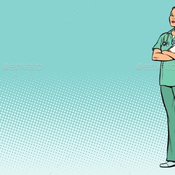 Pop Art Caucasian Nurse Medicine and Health