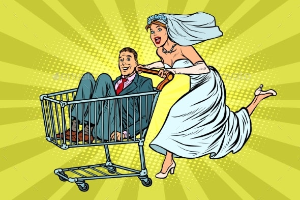 Pop Art Bride and Groom in a Shopping Trolley - People Characters