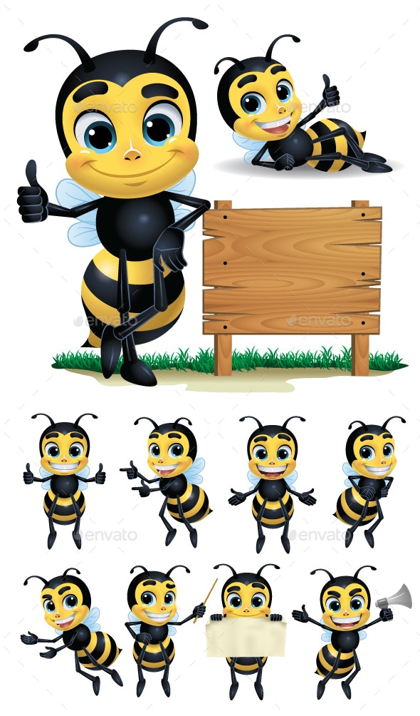 Bee Cartoon Character with 10 Poses - Animals Characters