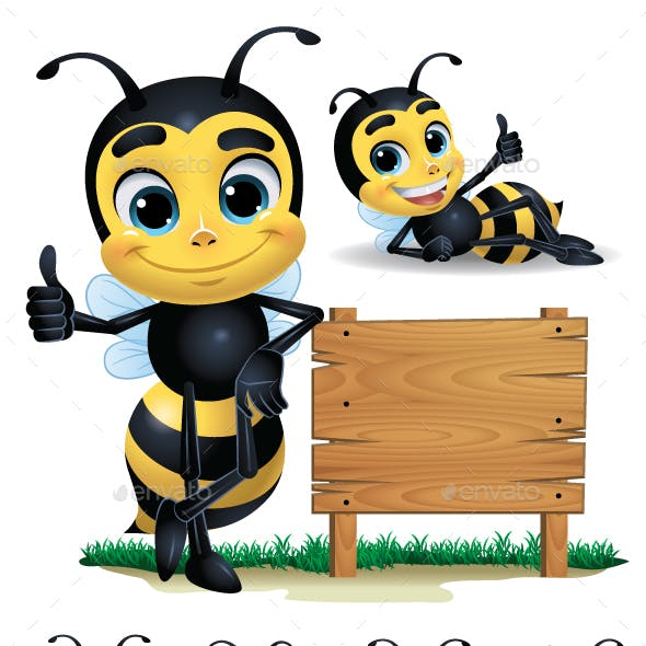 Bee Cartoon Character with 10 Poses