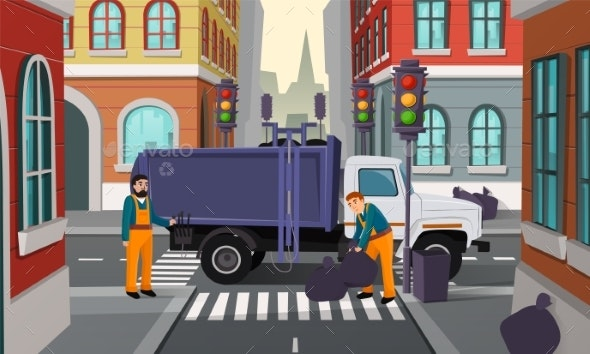 Vector Cartoon City Crossroad with Garbage Truck - Industries Business