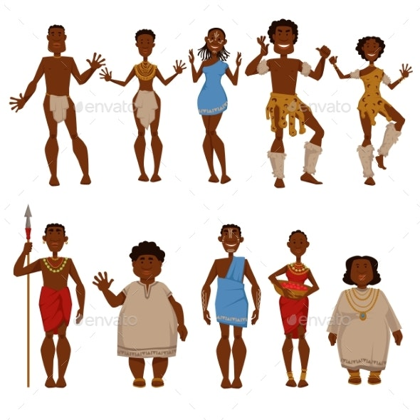 Native Tribe People Vector Characters - People Characters