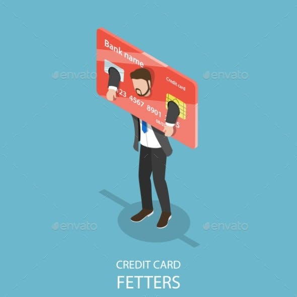 Credit Card Fetters Flat Isometric Vector Concept