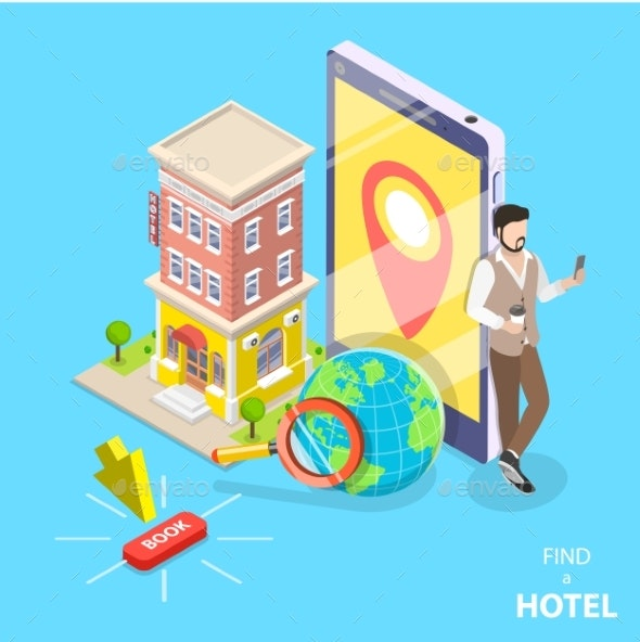 Online Hotel Search Flat Isometric Vector Concept - Miscellaneous Seasons/Holidays
