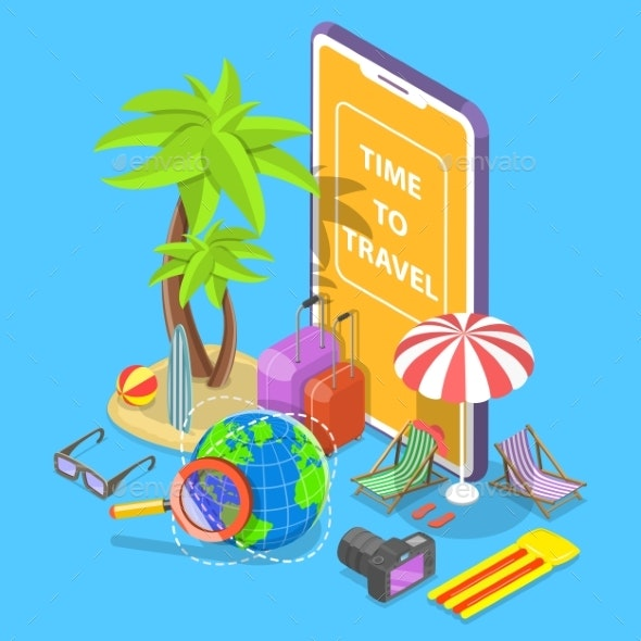 Online Tour Searching Flat Isometric Vector - Travel Conceptual