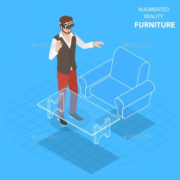 Augmented Reality Furniture Flat Isometric Vector - Computers Technology