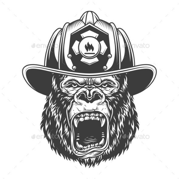 Angry Gorilla in Monochrome Style - Animals Characters