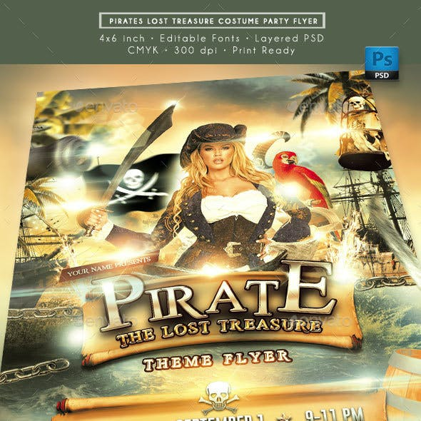 Pirates and Treasures Costume Party Flyer