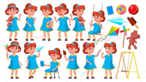 Girl Kindergarten Kid Poses Set Vector - People Characters