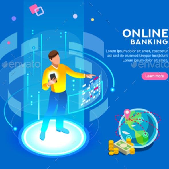Online Banking Futuristic Concept