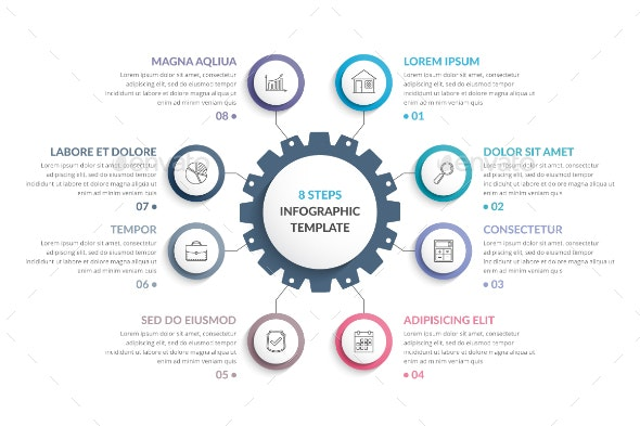 Infographic Template with Gear - Infographics