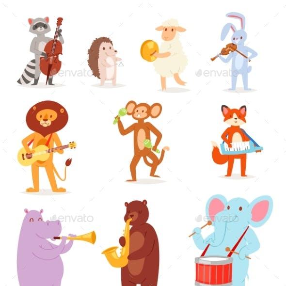 Animal Music Vector Animalistic Character Musician