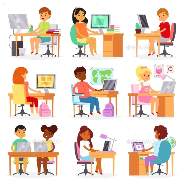Kids Computer Vector Child Studying Lesson - People Characters