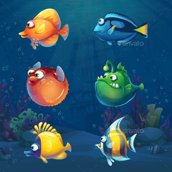 Set of Cartoon Fish in Underwater World