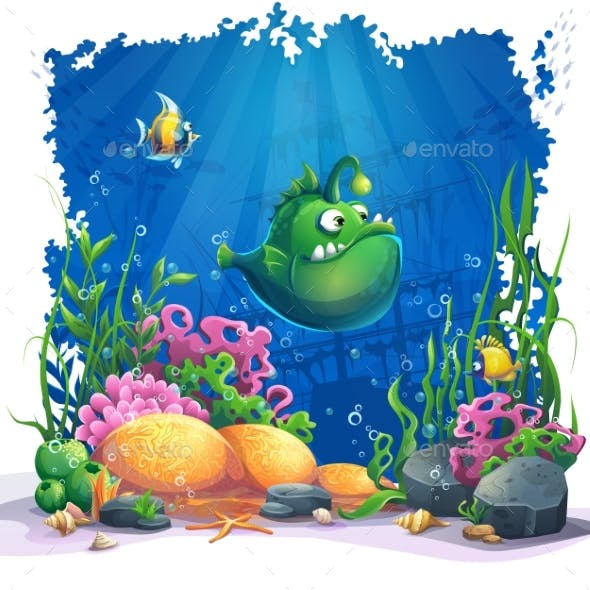Cartoon Green Fish