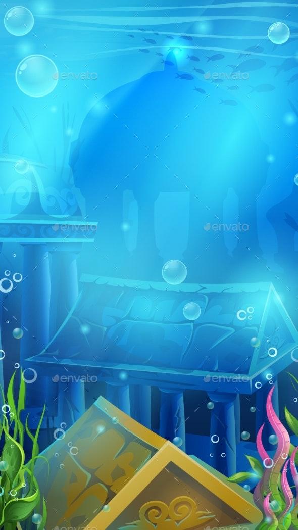 Atlantis Ruins Vector Illustration - Backgrounds Decorative