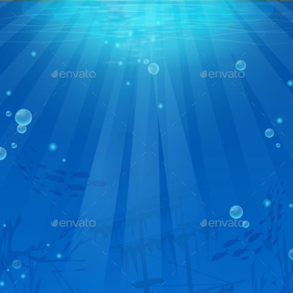 Vertical Background - Blue Theme of Undersea World