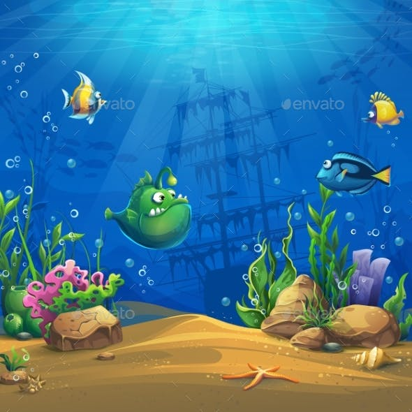Cartoon Fish in Underwater World