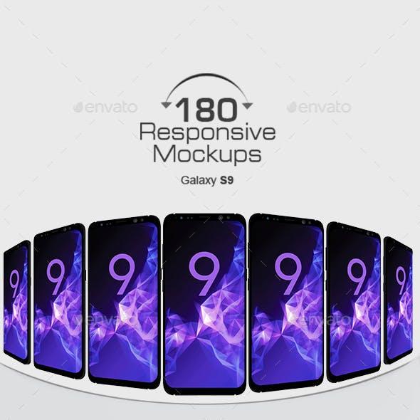 180 Responsive 3D Mockups - Galaxy S9