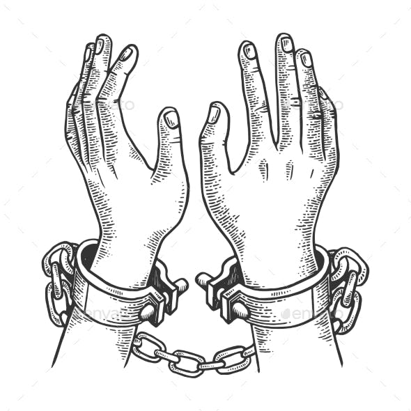 Hands in Handcuffs Engraving Vector Illustration
