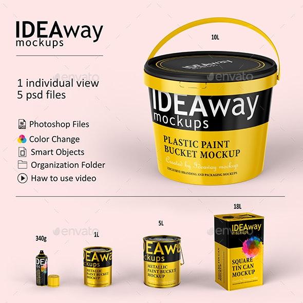 Paint Bucket Set Mockup - Packaging Product Mock-Ups